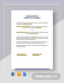 Revocation of Power of Attorney Template