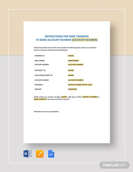Wire Transfer Instructions Form Template