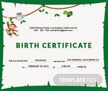 Animal Birth Certificate Template  Official Certificate Template