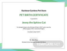 Free Animal Birth Certificate Template