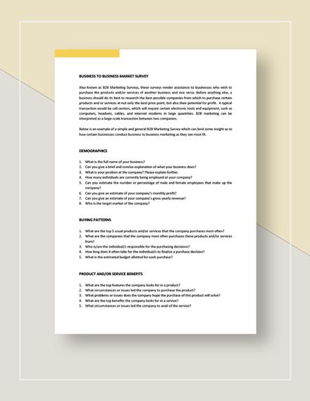 BusinesstoBusiness Market Survey Template