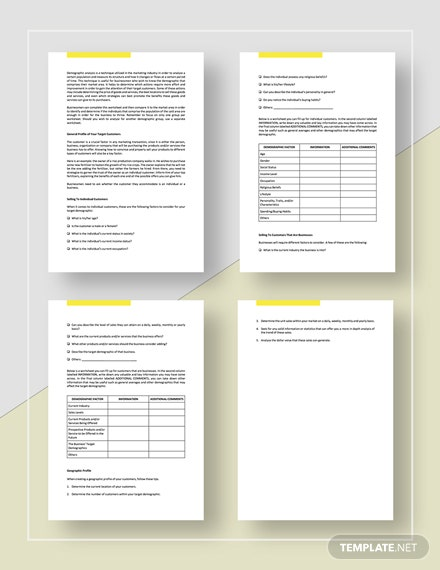 FREE Worksheet Demographic Analysis Template - Google Docs, Word, Apple Pages