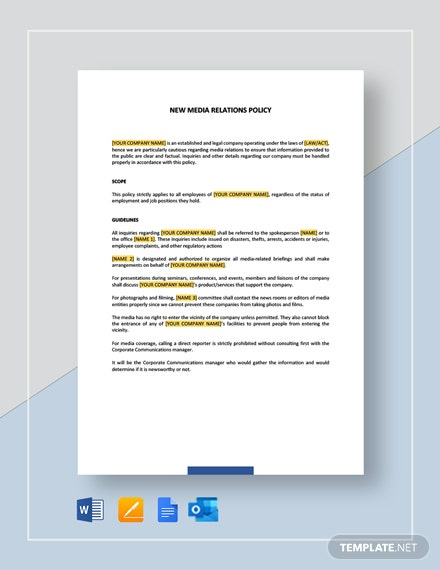 Media Relations Policy Template
