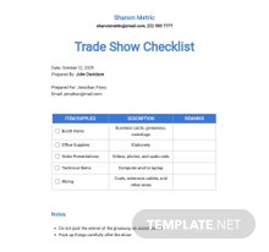 Checklist Trade Show Booth Setup Template