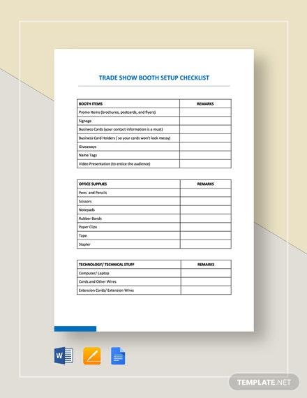 Checklist Trade Show Booth Setup Template