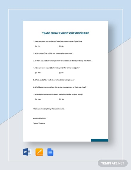 Trade Show Exhibit Questionnaire Template
