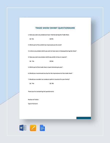 Trade Show Exhibit Questionnaire