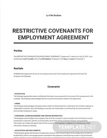 Restrictive Covenants for Employment Agreement Template
