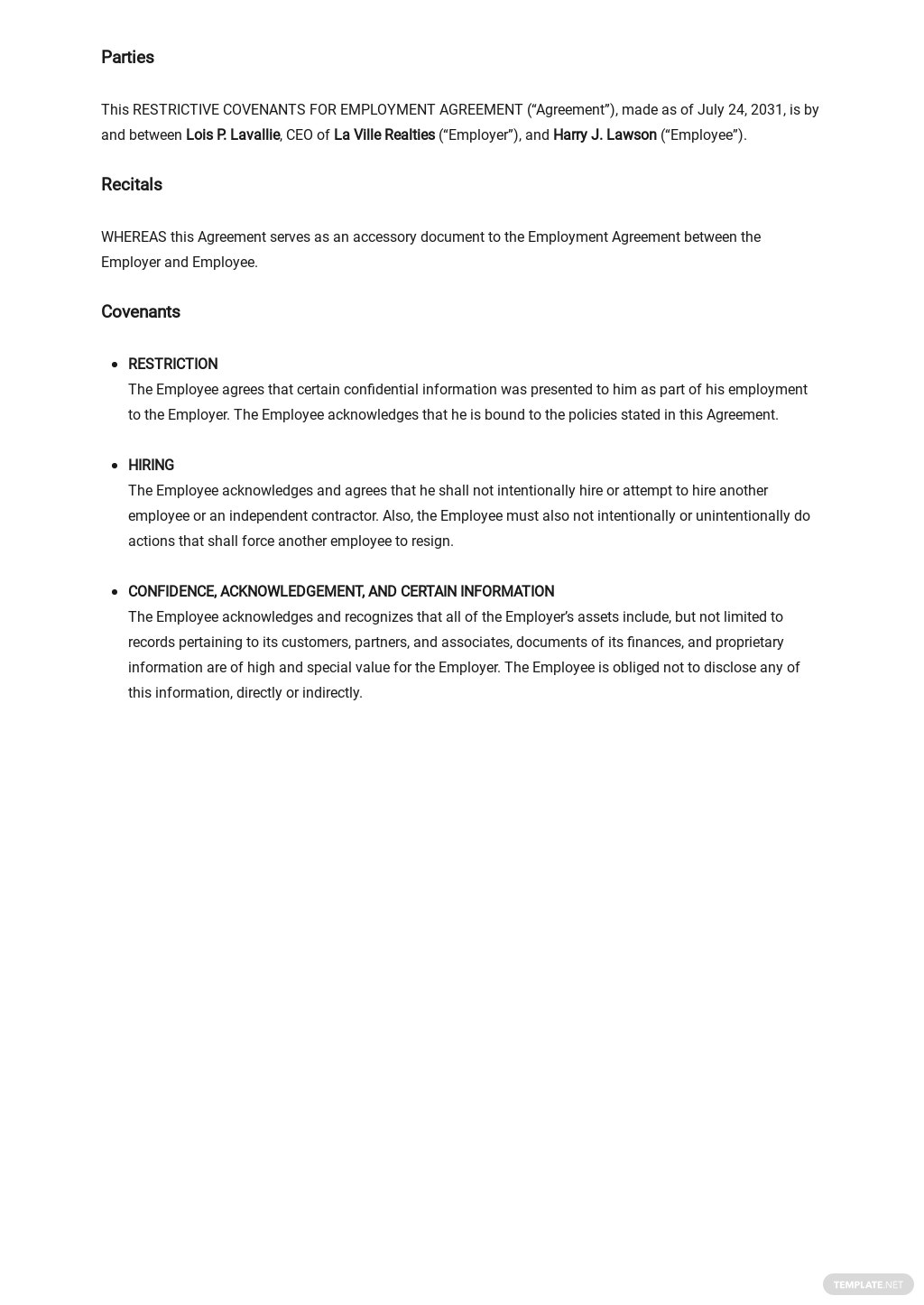 Restrictive Covenants for Employment Agreement Template 1.jpe