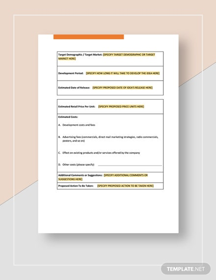 Worksheet New Product or Service Download