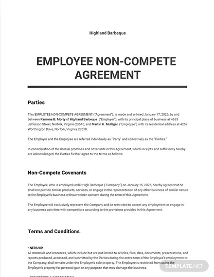 Employee NonCompete Agreement Sample