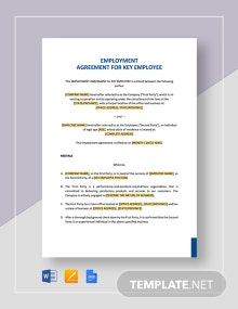 Employment Agreement Key Employee Template