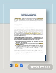 Proprietary Information and Inventions Agreement Template