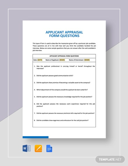 Applicant Appraisal Form Questions Template
