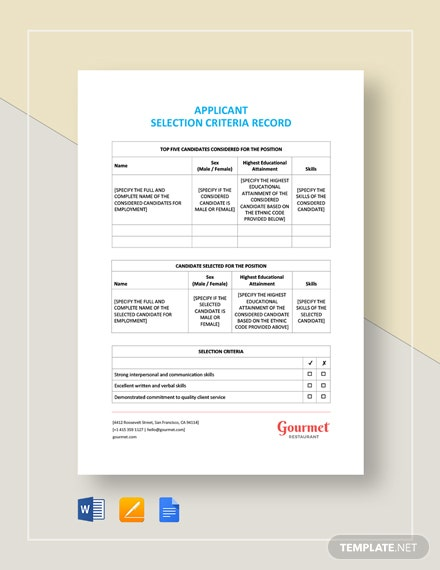 Applicant Selection Criteria Record Template
