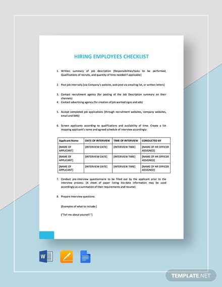 Checklist Hiring Employees Template