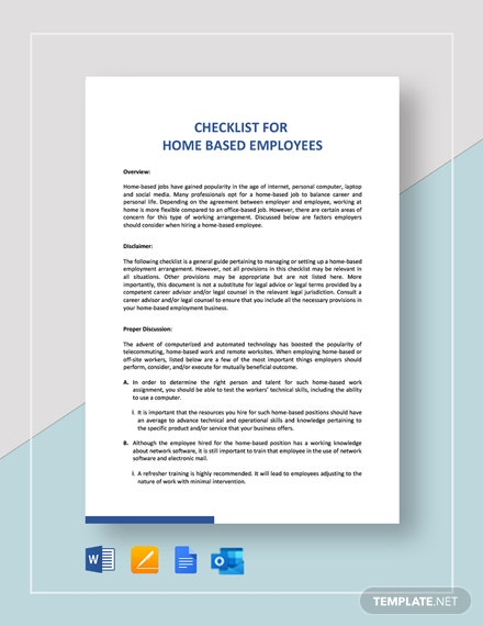 Checklist Home-Based Employee Template