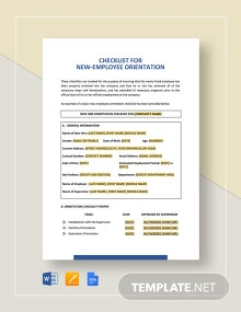 Checklist New-Employee Orientation Template