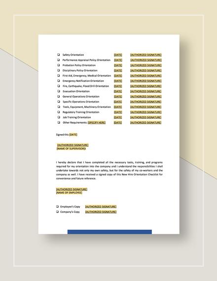 Checklist NewEmployee Orientation Template
