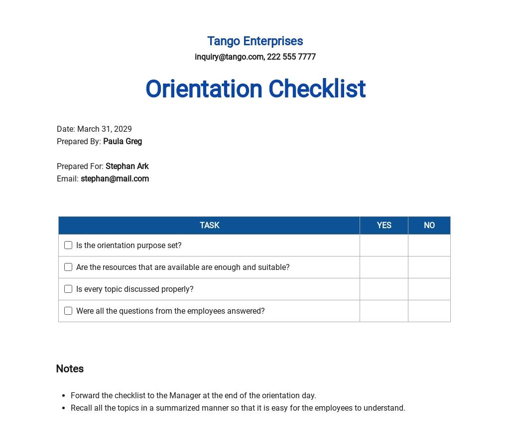 Checklist New-Employee Orientation Template