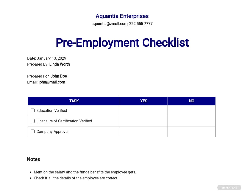 Checklist Pre-Employment Template