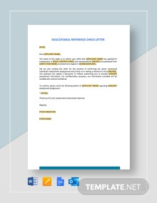 Educational Reference Check Letter Template