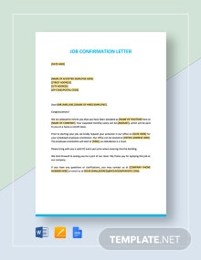 Job Confirmation Letter Template