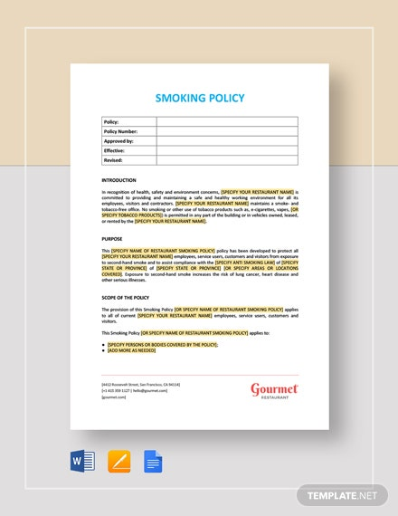 Smoking Policy Template