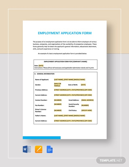 Employment Application Form Template