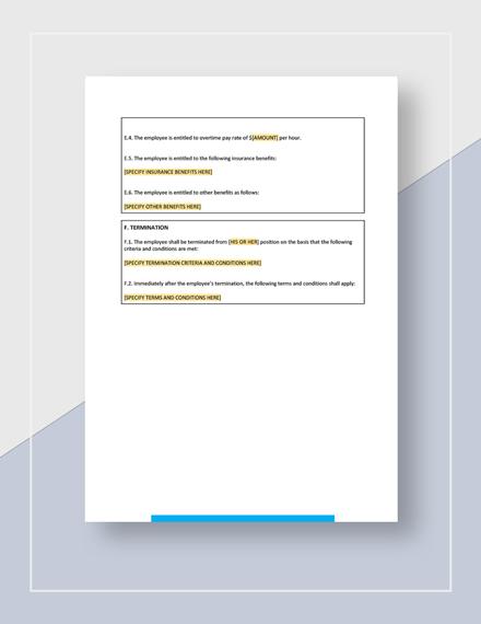 Employment Contract Worksheet Download