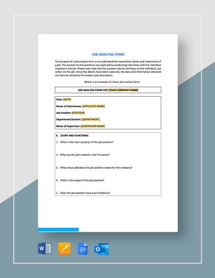 Job Analysis Form Template