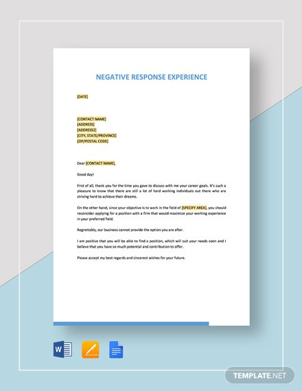 Negative Response Experience Template