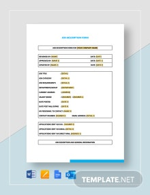 Job Description Form Template