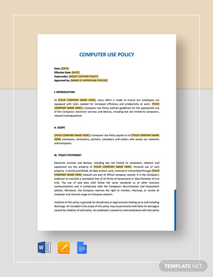 Computer Use Policy Template