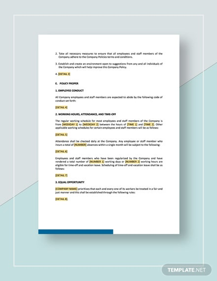 Company Policy Template