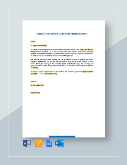 Policy Letter on Vehicle Expense Reimbursement