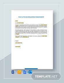 Policy Letter on Vehicle Expense Reimbursement Template