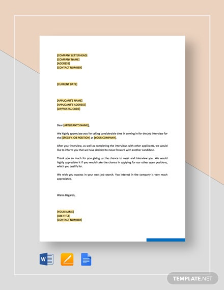Rejection Letter - Interviewed Applicants Template