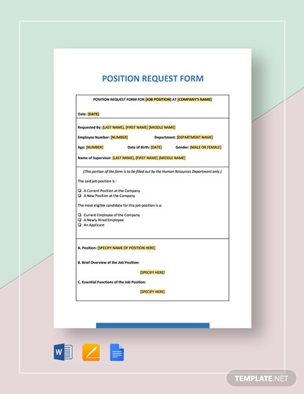 Position Request Form Template