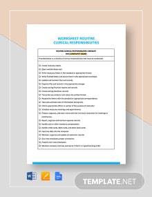Worksheet Routine Clerical Responsibilities Template