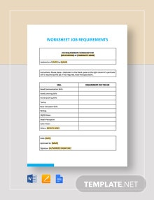 Worksheet Job Requirements Template