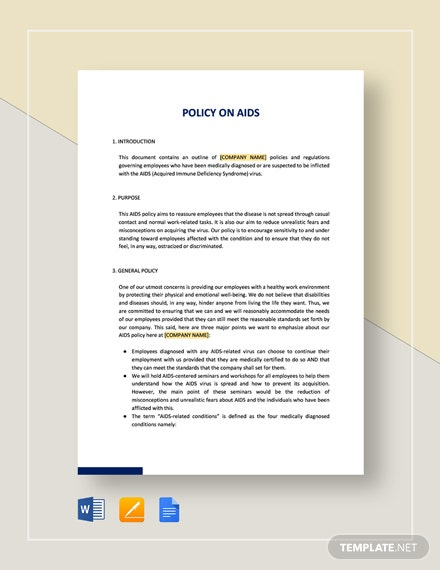 Workplace AIDS Policy Template