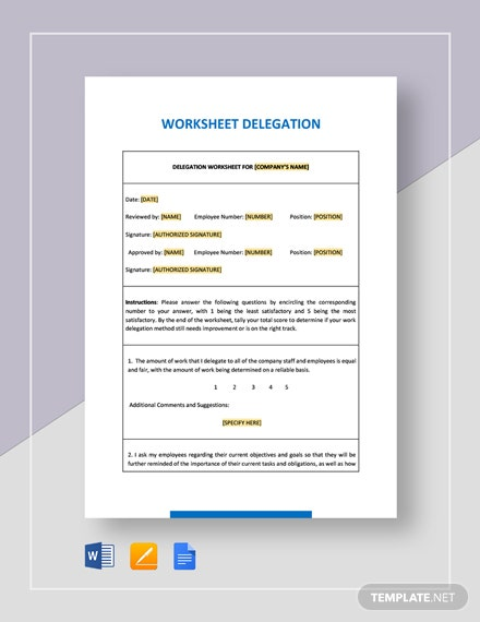 Worksheet Delegation Template