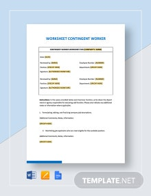 Worksheet Contingent Worker Template