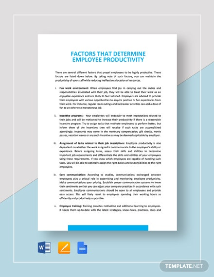Factors that Determine Employee Productivity Template