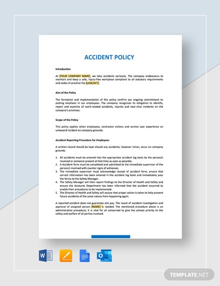 Accident Policy Template