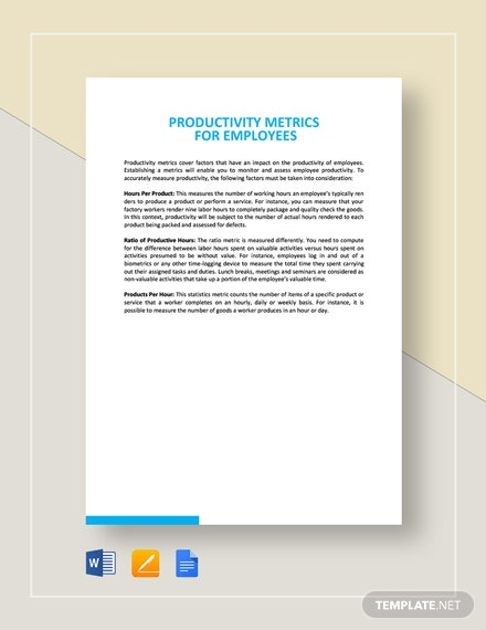 Productivity Metrics for Employees Template