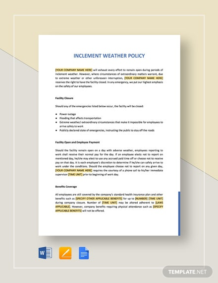 Inclement Weather Policy Template
