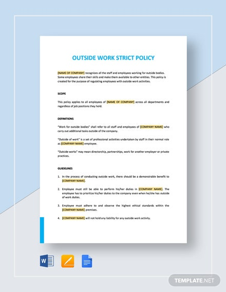 Outside Work - Strict Policy Template