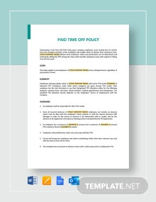 Paid Time Off Policy - PTO Template
